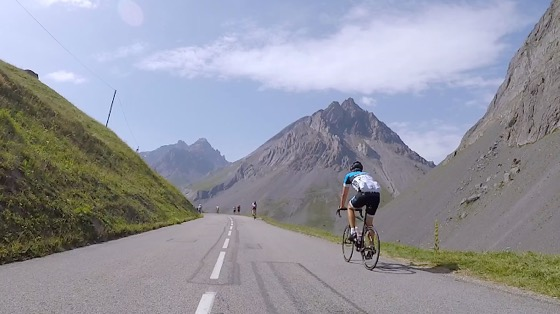 Indoor cycling training video of Col du Galibier