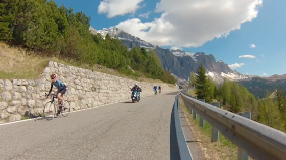 Indoor cycling training video of Passo Gardena from Corvara